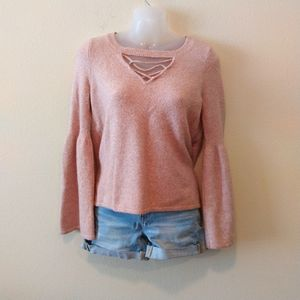 American Eagle Keyhole Blush Bell Sleeves Sweater